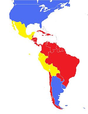 "Darcy Ribeiro - Map showing Darcy Ribeiro's classification of Latin American countries into ""New Peoples"" (Red), ""Testimony Peoples"" (Yellow) and ""Transplantated Peoples"" (Blue)"