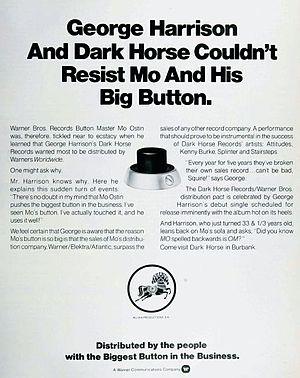 Thirty Three & 1/3 - Billboard magazine ad announcing Dark Horse's new partnership with Mo Ostin and Warner Bros. Records