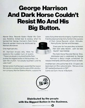 Thirty Three & 1/3 - Billboard magazine ad announcing Dark Horse's new partnership with Mo Ostin and Warner Bros. Records