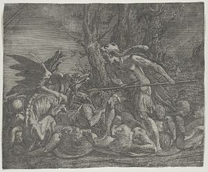 Léon Davent - Cadmus fighting the Dragon, after Primaticcio