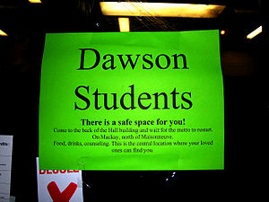 Dawson College shooting - Sign on the door of a downtown Montreal metro station in the afternoon of the shooting, inviting Dawson students to Concordia University for shelter while subway service is halted.