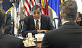 Defense.gov News Photo 120510-D-NI589-025 - Secretary of Defense Leon E. Panetta speaks with Finland s Minister of Defense Stefan Wallin foreground as they meet in the Pentagon in Arlington.jpg