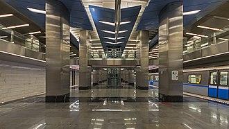 Delovoy Tsentr (Kalininsko–Solntsevskaya line) - Image: Delovoj Centr Mos Metro station 01 2015 with train