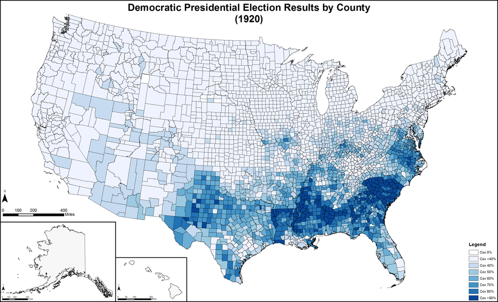 DemocraticPresidentialCounty1920Colorbrewer