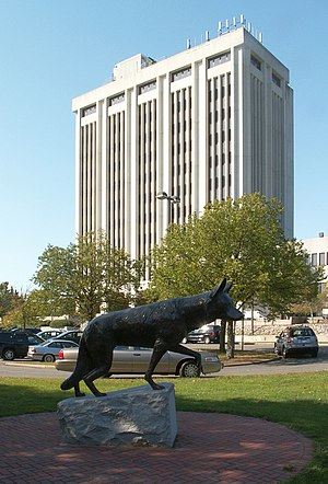 Hauppauge, New York - H. Lee Dennison Suffolk County Executive Building with a monument to war dogs