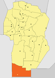 Location o General Roca Depairtment in Córdoba Province