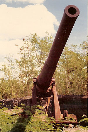Fort Wint - Splinter-damaged 6-inch (15-cm) United States M1905 disappearing gun at Battery Hall, Fort Wint.