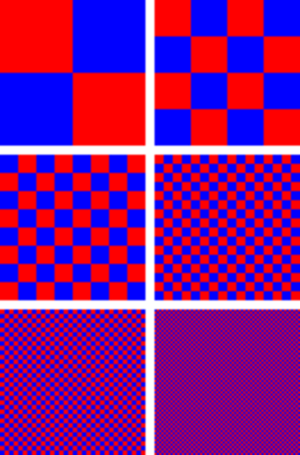 Dither - An illustration of dithering. Red and blue are the only colors used but, as the red and blue squares are made smaller, the patch appears purple.