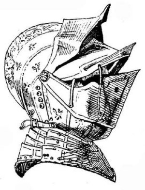 Close helmet - A close helmet with a split visor (also with an extra pivoting peak), c. 1560 (notice that its bevor - secured by a strap - is attached to the same pivot as the visors)