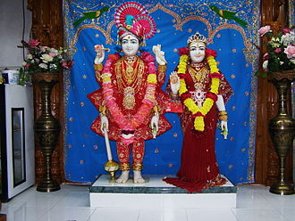 Lakshmi Narayan - LakshmiNarayan Dev Murtis at the Swaminarayan Temple in Downey, California