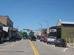 Main Street in Bastrop, Texas, features the small shops and old-fashioned architecture typical of small Texas cities.