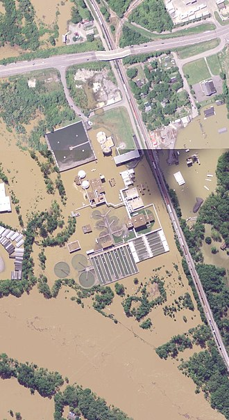 2010 Tennessee floods - Aerial Photograph of the Dry Creek WWTP during the flood