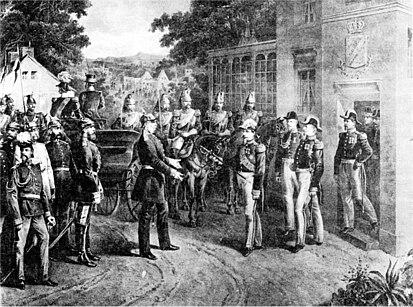 Napoleon surrenders his sword (Wikipedia)
