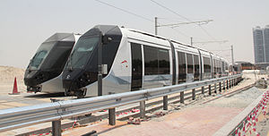 Dubai Tram - Alstom 402 trams near the Al Sufouh depot in July 2014.