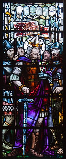 Dublin St. Patrick's Cathedral North Transept Window King Cormac of Cashel Detail King Cormac 2012 09 26.jpg