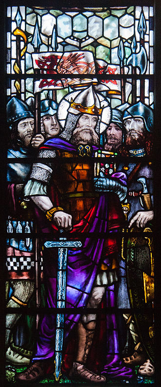 Cormac mac Cuilennáin - King Cormac in a stained glass window in St Patrick's Cathedral, Dublin, designed by Sarah Purser and painted by Alfred Ernest Child