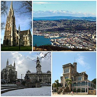Dunedin - Clockwise from top: First Church of Otago, cityscape seen from Signal Hill lookout, Larnach Castle, Anglican Cathedral and Town Hall on The Octagon