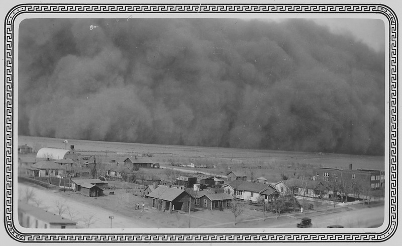 "Dust Storm in Rolla, Kansas, ""05-06-35, Dear Mr. Roosevelt, Darkness came when it hit us. Picture taken from water... - NARA - 195691"