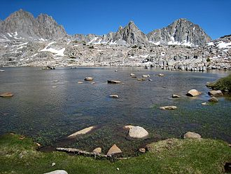 Kings Canyon National Park - Dusy Basin includes many small lakes, such as this one, carved by glaciers from granite.