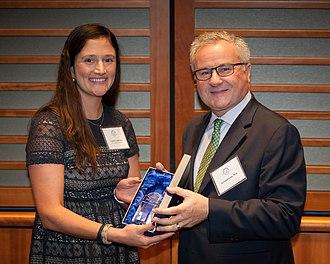 Albert Galaburda - Amelia Baker Lauderdale presents Albert Galaburda with the Einstein Award at Harvard Medical School.