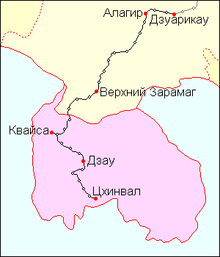 Location of Dzuarikau–Tskhinvali pipeline