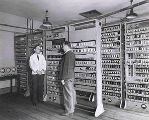 Electronic delay storage automatic calculator - Maurice Wilkes and Bill Renwick in front of the complete EDSAC