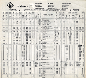 Phoebe Snow (train) - Erie Lackawanna Railroad Company Main Line Timetable showing such famous trains as Phoebe Snow, Lake Cities, and Erie Lackawanna Limited