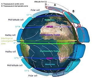 Atmospheric circulation - Idealised depiction (at equinox) of large scale atmospheric circulation on Earth.