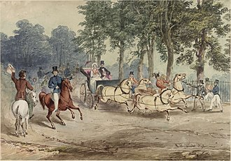 Edward Oxford - 1840 watercolour of Oxford's assassination attempt. Oxford stands in front of the Green Park railings, pointing a pistol at Victoria and the Prince Consort, while a policeman runs towards him. One of the Queen's attendants is on horseback at left.