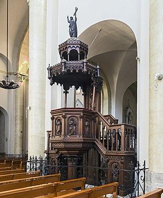 Revel, Haute-Garonne - Image: Eglise Notre Dame de Revel Interior Pulpit