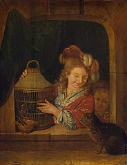 Children with a Cage and a Cat