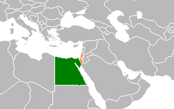Map indicating locations of Egypt and Israel