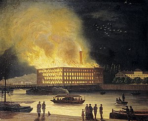 Eldkvarn - Eldkvarn burning in 1878, a painting by Gustaf Carleman.