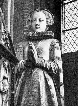 Princess Elizabeth of Sweden - The Duchess in a lifesize sculpture on the Schwerin grave monument of her husband