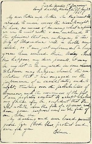 Elmer E. Ellsworth - Last letter written by Elmer Ellsworth (dated May 23, 1861)