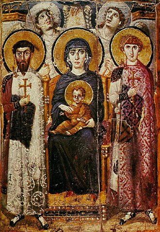 Mary, mother of Jesus - Virgin and Child with angels and Sts. George and Theodore. Icon from around 600, from Saint Catherine's Monastery.