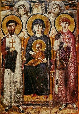 «Богоматерь с ангелами, свв. Георгием и Феодором», энкаустическая икона, монастырь Святой Екатерины на Синае, VII век