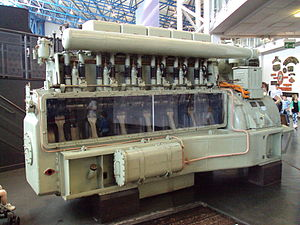 Sulzer diesel engine from a rail locomotive. P...