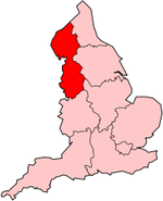 Location of the North West in England