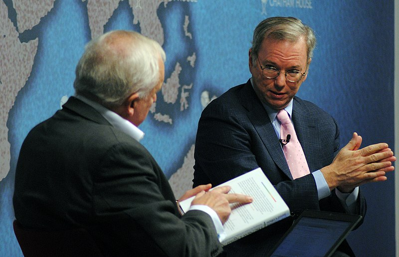 Eric Schmidt, Executive Chairman, Google (left) in conversation with Nik Gowing (11051254154).jpg