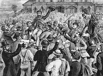 Melbourne - A large crowd outside the Victorian Supreme Court, celebrating the release of the Eureka rebels in 1855