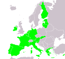 A map of Europe, highlighting the member countries of the eurozone and whether they have issued €2 commemorative coins or not. The eurozone member countries are most of western Europe south of Denmark, as well as Cyprus, Greece, Finland, Ireland and Malta.