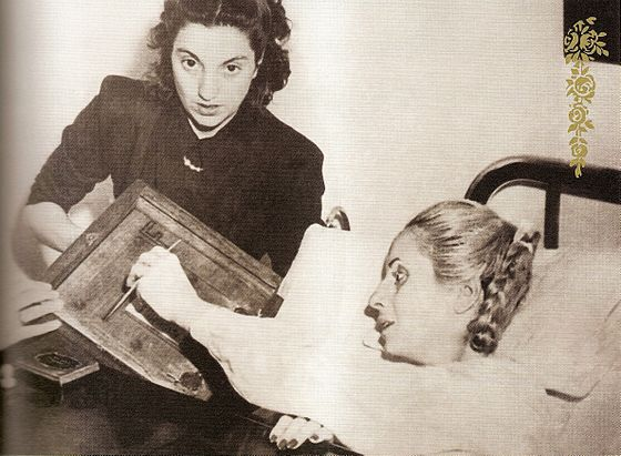 Eva Peron voting at the hospital in 1951.It was the first time women had been permitted to vote in national elections in Argentina. To this end Peron received the Civic Book No. 00.000.001. It was the first and only time she would vote; Peron died July 26, 1952 after developing cervical cancer. Eva Peron votando.jpg