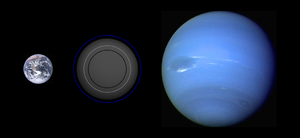 Gliese 581c - Size comparison of Gliese 581c with Earth and Neptune.