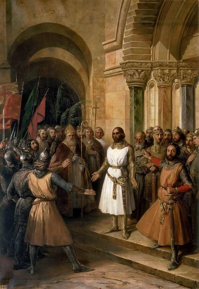 F. de Madrazo - 1838, Godofredo de Bouillon proclamado rey de Jerusalén (Palacio de Versalles, 196 x 136 cm).jpg