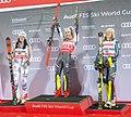 FIS Alpine Skiing World Cup in Stockholm 2019 Mikaela Shiffrin - Christina Geiger and Anna Swenn Larsson 2.jpg