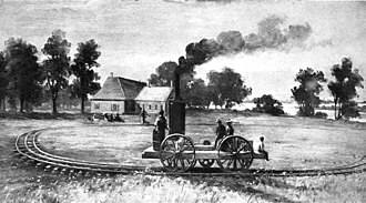 Rail transportation in the United States - First American locomotive on rails at Castle Point, drawing, Hoboken, the first railroad in the United States, c. 1826