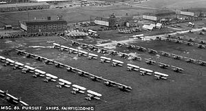 Fairfield Aviation General Supply Depot - Buildings and biplanes at the Fairfield Aviation General Supply Depot in the 1920s