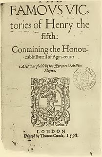 <i>The Famous Victories of Henry V</i> Anonymous 1580s English play