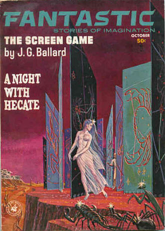 "J. G. Ballard - Another Emshwiller cover illustrating the Vermilion Sands story ""The Screen Game"" (1963)."